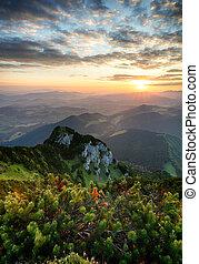 Sunrise on mountain at summer