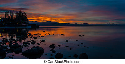Sunrise on North Lake Tahoe - A beautiful sunrise captures...