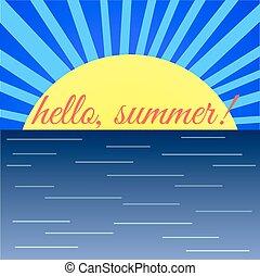 "Sunrise on Sea and the Word ""Hello Summer"""