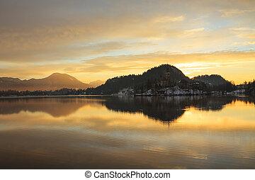Sunrise on the Bled Lake