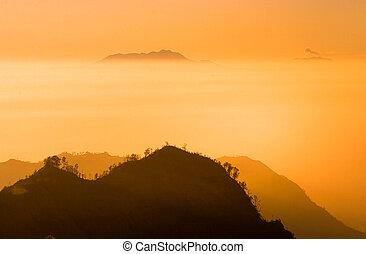 Sunrise on the Bromo volcano - Sunrise in Bromo volcano ...