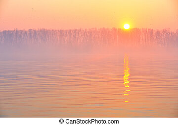 Sunrise on the Danube river