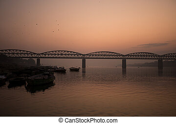 Sunrise on the Ganga river, Varanasi, India
