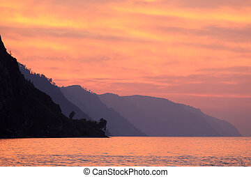Sunrise on the lake Baikal, Republic of Buryatia, Russia.