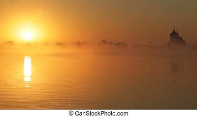 sunrise on the lake, sunrise over river, morning Landscape.
