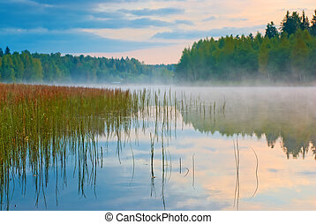 Sunrise on the lake with mist