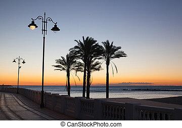 Sunrise on the Malaga beach