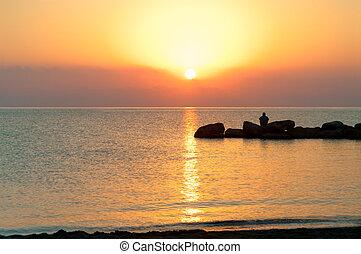 Sunrise on the Mediterranean coast