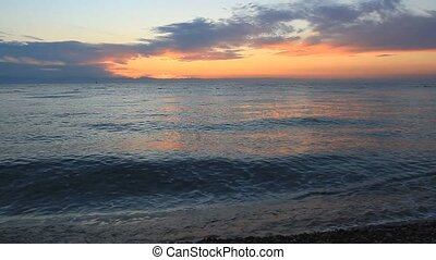 Sunrise on the Mediterranean Sea in Antalya