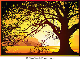 Sunrise on the ocean. - Magical sunrise on the ocean. Vector...