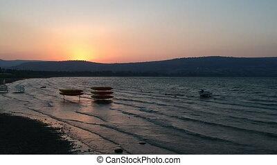 Sunrise on the Sea of Galilee in Israel
