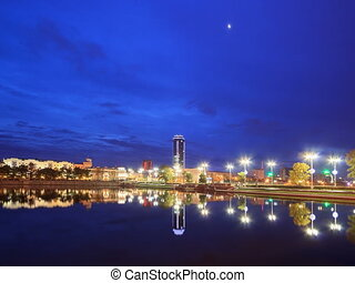 Sunrise on the waterfront. Ekaterinburg, Russia. Time Lapse....