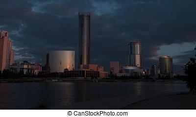 Sunrise on waterfront, Yekaterinburg City, Russia - Sunrise...