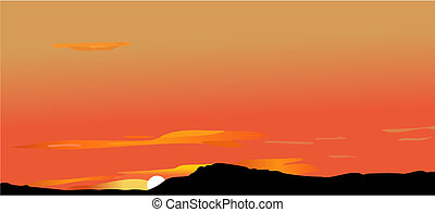 Sunrise or decline in mountains - Vector illustration of ...