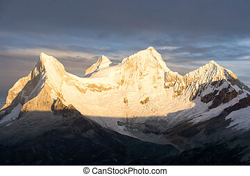 sunrise over a beautiful mountain landscape in the Andes of Peru