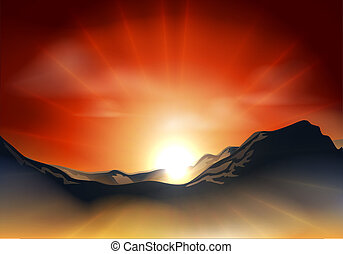 Illustration of landscape with sunrise or sunset over a mountain range