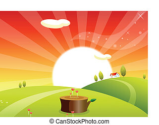 Sunrise over a rolling landscape - This illustration is a...