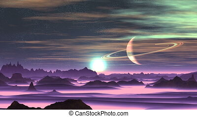 Sunrise Over Alien Planet