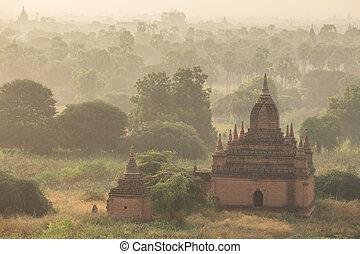 Sunrise over ancient pagoda in Old Bagan, Myanmar ( Burma )