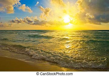 Sunrise over Atlantic ocean - Sunrise, Atlantic ocean, FL,...