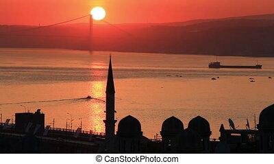 Sunrise over Bosphorus in Istanbul - Sunrise over Bosphorus,...