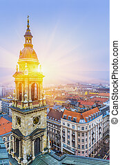 Sunrise over Budapest At Winter, Aerial View From St. Stephen's Basilica Roof,  Hungary