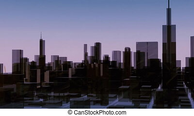 Sunrise over Chicago city skyscrapers time lapse - Sun rises...
