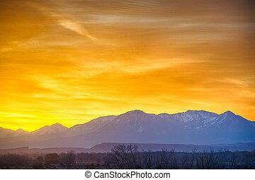 sunrise over colorado rocky mountains