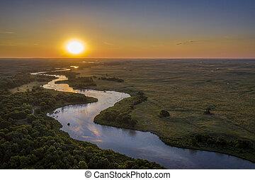 sunrise over Dismal River in Nebraska Sandhills