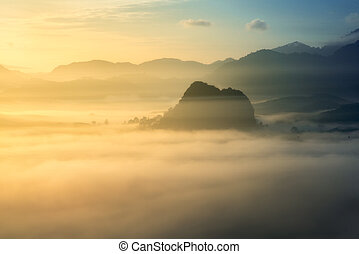 sunrise over fog and mountain in forest