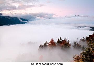 sunrise over fog in Alps
