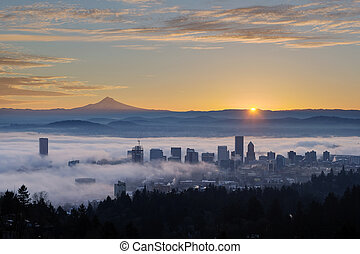 Sunrise over Foggy Portland Cityscape with Mt Hood