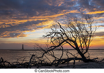 Sunrise Over Folly Beach and Morris Island Lighthouse