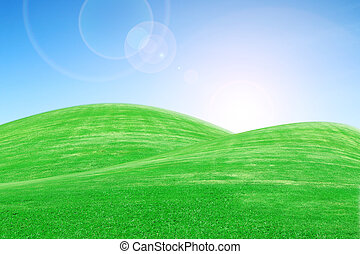 sunrise over green grass hills with sky