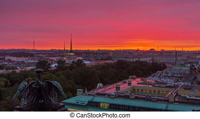 Sunrise over historic center from the colonnade of St. Isaac's Cathedral timelapse.