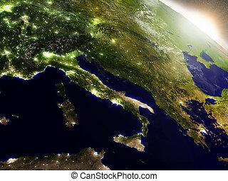 Sunrise over Italy