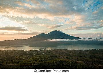 Sunrise over lake Batur