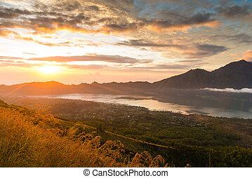 Sunrise over lake Batur - Beautiful sunrise over lake Batur...