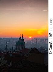 Sunrise over Lesser Town, Prague, Czech Republic.