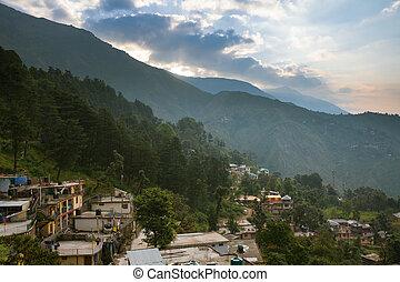 Sunrise over McLeod Ganj, the residence town of Dalai Lama, Dharamsala, India.