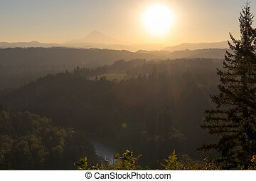 Sunrise over Mount Hood and Sandy River Valley at Jonsrud...