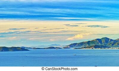 Sunrise over Nha Trang bay timelapse panorama