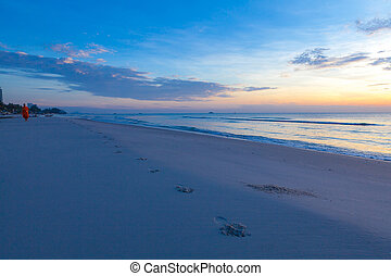 Sunrise over on the beach