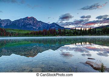 Sunrise Over Patricia Lake in Jasper National Park in Alberta