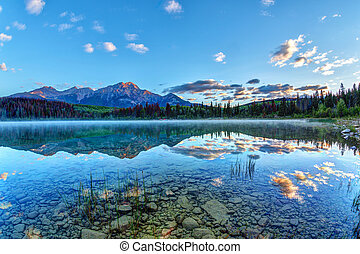 Sunrise Over Patricia Lake in Jasper National Park