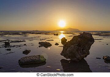 Sunrise over Red sea, Tiran island, Saudi Arabia