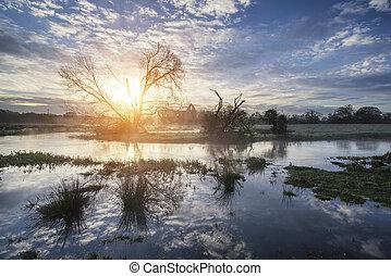 Sunrise over river in Winter landsc