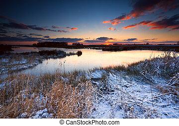 sunrise over river in winter