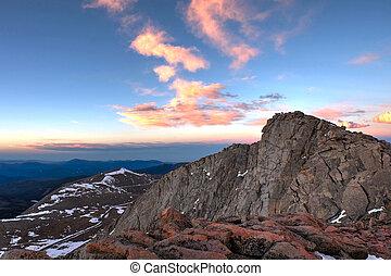 Sunrise over rocky mountains. - Mount Evans. Denver....