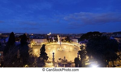 Sunrise over Rome, Piazza del Popolo, Italy. Time Lapse